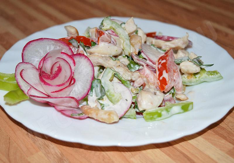 салат из редиса с курицей