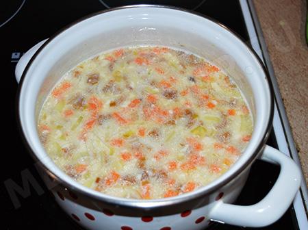 Куриный сырный суп
